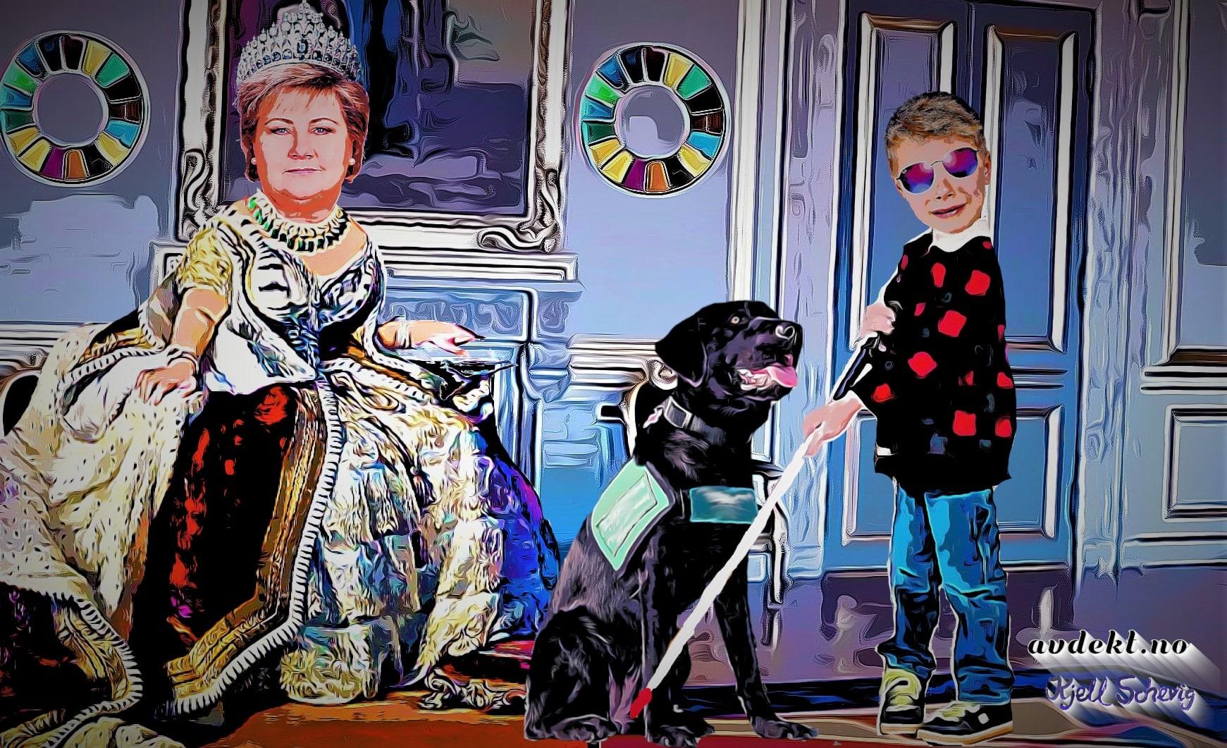 Blind gutt på audiens til Erna Solberg Dronningen av Bærekraft