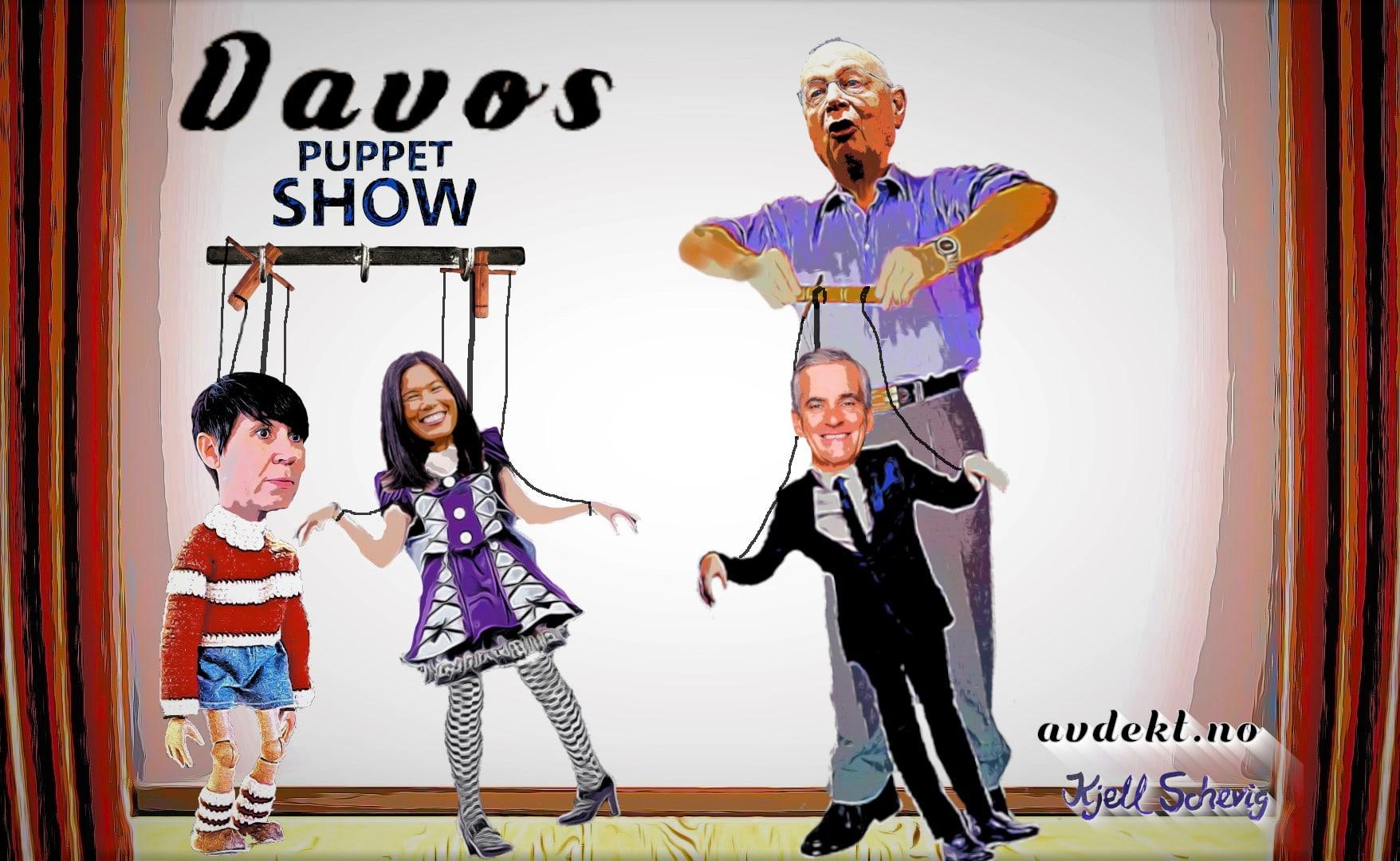 Norske politikere opptrer på Davos Puppet Show